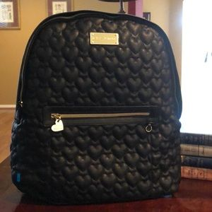Betsey Johnson Black Backpack w Hearts
